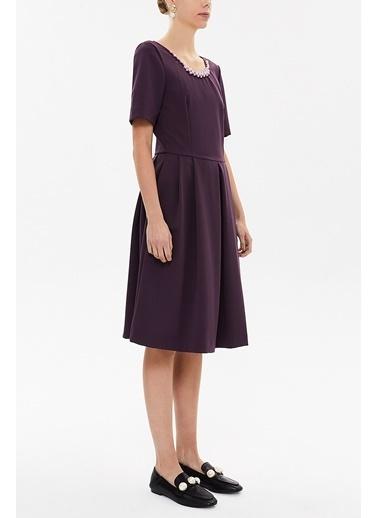 Societa Yakası İnci Detaylı Plili Elbise 92207 Mor